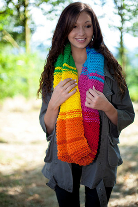 Kit tricot snood multicolore laine vierge